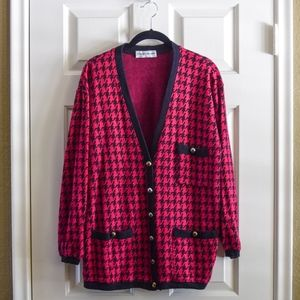 Magenta Houndstooth Thick Cardigan Sweater